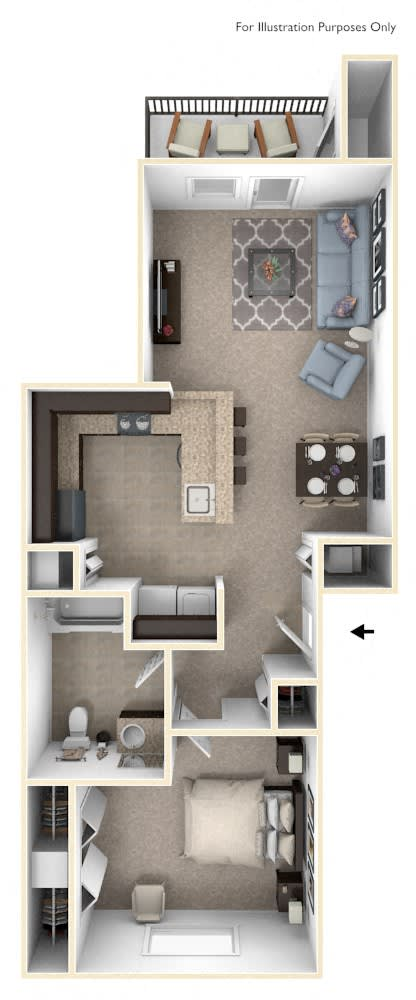 One Bedroom One Bath Floor Plan at The Reserve at Destination Pointe, Iowa