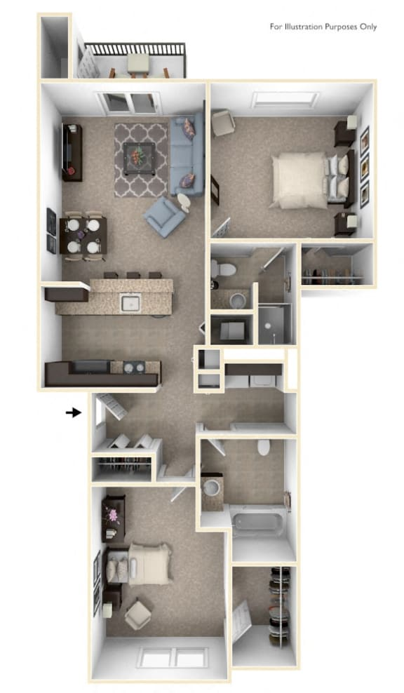 Two Bedroom Two Bath Floor Plan at The Reserve at Destination Pointe, Iowa, 50111