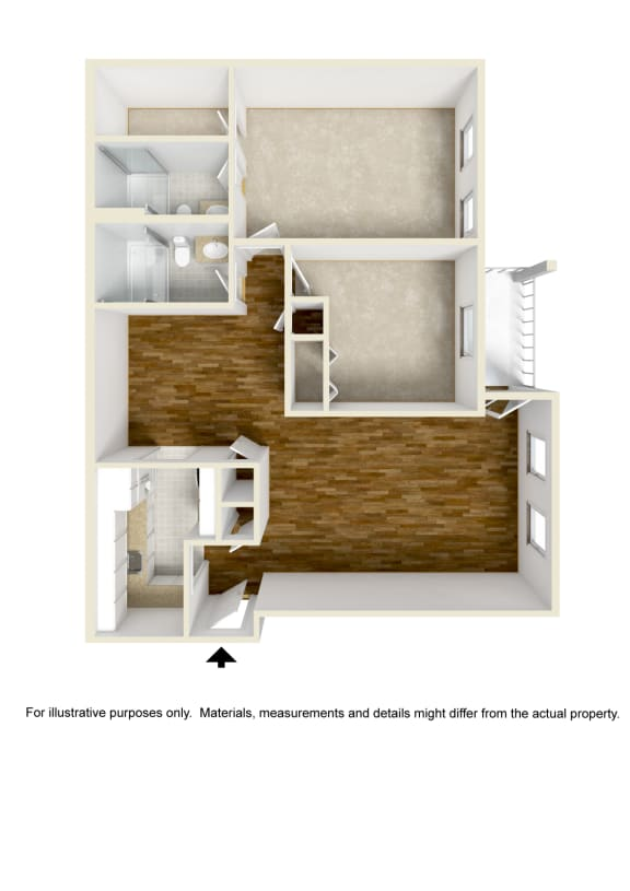 Floor Plan  2 Bed - 2 Bath