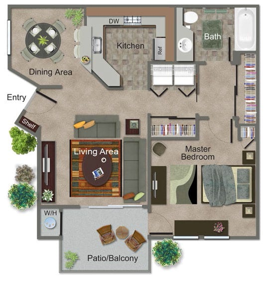 1 Bed, 1 Bath Floor Plan at Renaissance Apartment Homes, California