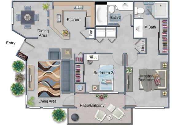 2 Bed,  Bath Floor Plan at Renaissance Apartment Homes, Santa Rosa, CA