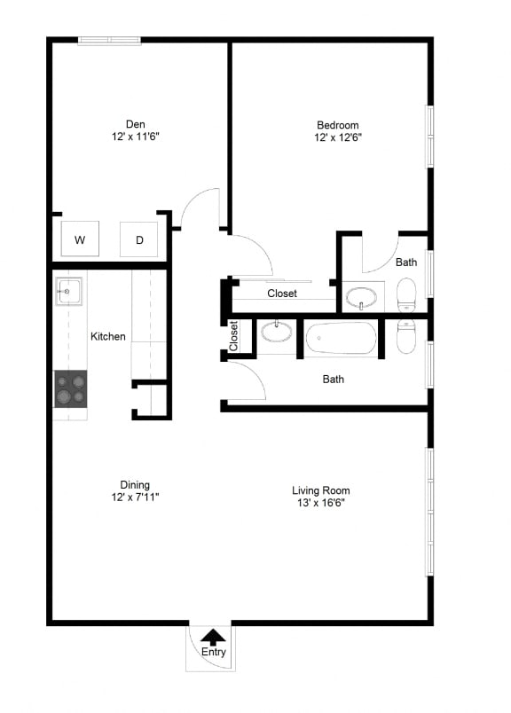 Floor Plan  1 Bedroom with Den FloorPlan at Dannybrook Apartments, Williamsville, NY