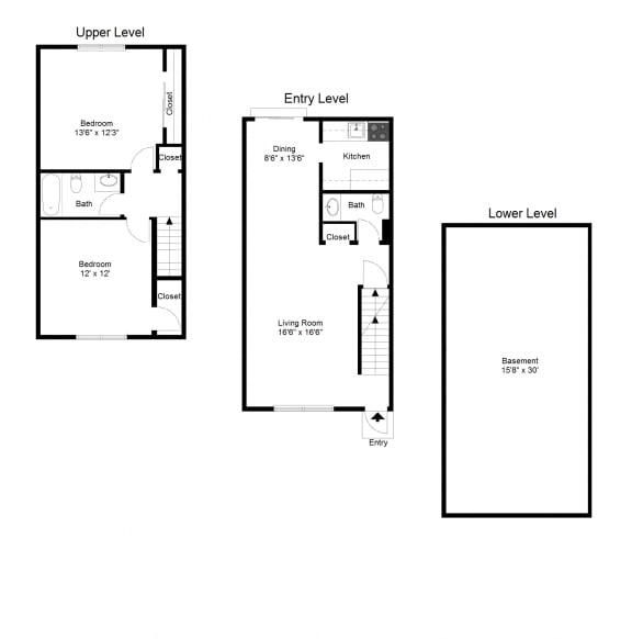 Floor Plan  2 Bedroom Townhouse FloorPlan at Dannybrook Apartments, New York, 14221