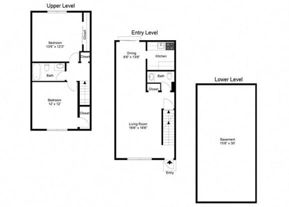 2 Bedroom Townhouse FloorPlan at Dannybrook Apartments, New York, 14221