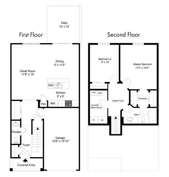 Two Bedroom - Phase II at Collett Woods Townhouses, New York, 14425