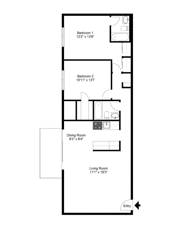 Floor Plan  Two Bedroom Apartment at Winton Village Apartments, Rochester, 14623