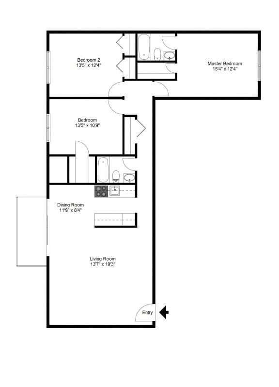 Floor Plan  Three Bedroom at Winton Village Apartments, Rochester