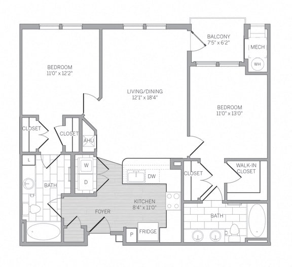 B2 Floor Plan at AVE Newtown Square, Newtown Square, 19073