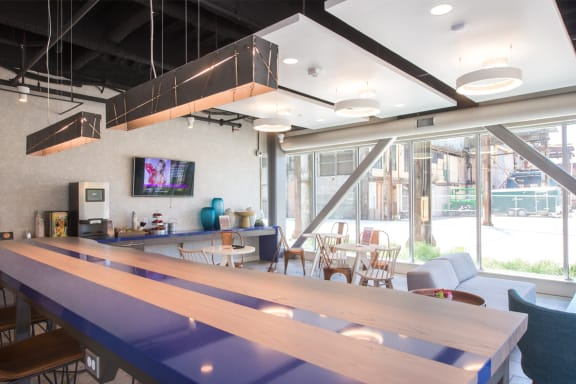 Cafe and Lounge with Coffee Bar and Entertainment The Foundry at 41st New Apartments, Lawrenceville 15201