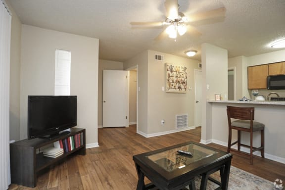 Wooden flooring in living area, at Cambridge Court Apartments, Texas, 75965