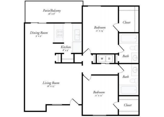 2 Bed 2 Bath - 2B Floorplan at Summit Ridge Apartments, Temple