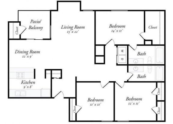 3 Bed 2 Bath - 3A Floorplan at Summit Ridge Apartments, Temple, TX, 76502