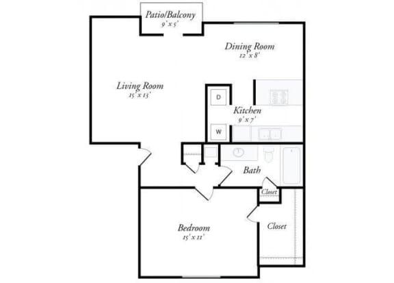 1 Bed 1 Bath - A3 Floorplan at Summit Ridge Apartments, Temple, 76502