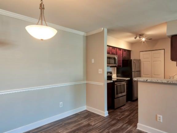 Renovated dining room at Waterman's Crossing Apartments in Newport News, VA