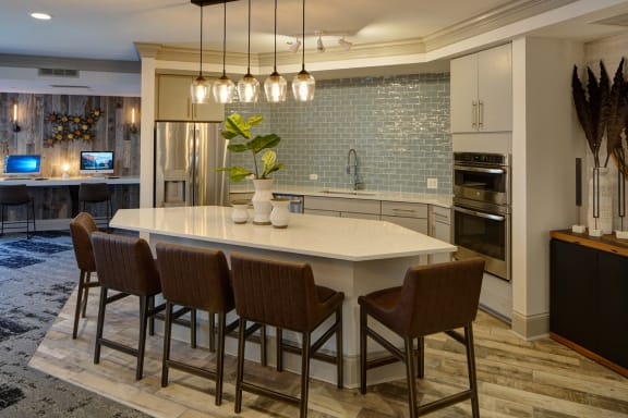 Community Kitchen with Coffee Bar at City View at the Highlands, Lombard, IL, 60148