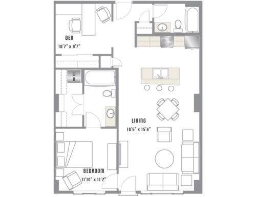 B1 Floor Plan at 2020 Lawrence, DENVER