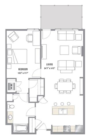 A8 Floor Plan at 2020 Lawrence, DENVER, CO, 80205