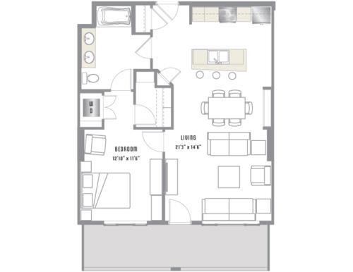 A5 Floor Plan at 2020 Lawrence, DENVER, CO