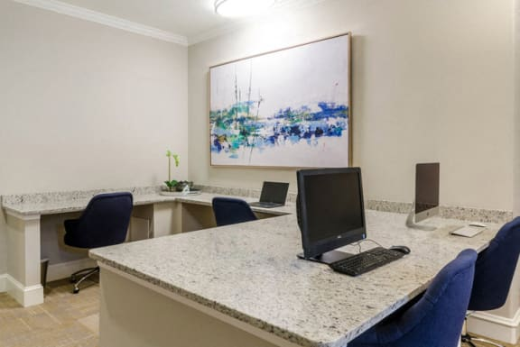Resident Business Center With Computer And Printer at Riverstone at Owings Mills Apartments, Owings Mills, Maryland