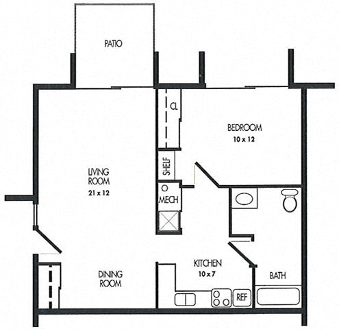 One Bed Room Floor Plan at Arbor Pointe Townhomes, Michigan, 49037-2040