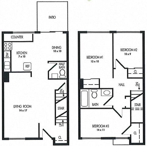 Three Bed Room Floor Plan at Arbor Pointe Townhomes, Battle Creek