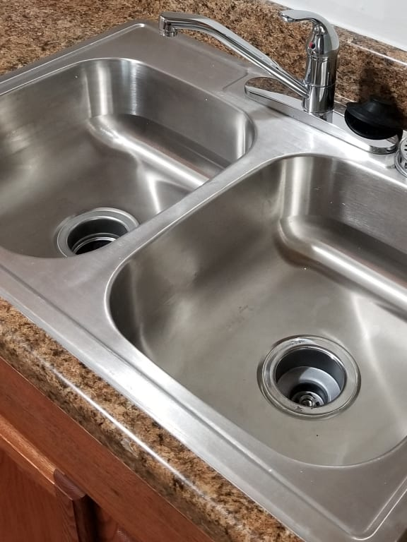Double Sink with Integrated Sprayer at Candlewyck Apartments, Kalamazoo, MI