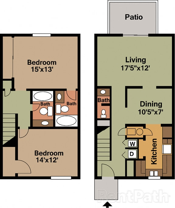 2 BR 2.5 Bath Townhome Floor plan at Country Lake Townhomes, Indiana