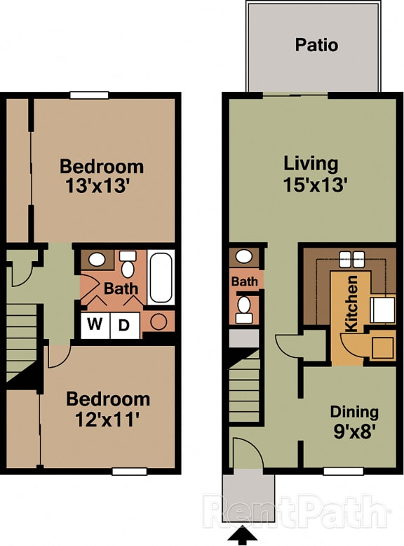 2 BR 1.5 Bath Townhome Floor Plan at Country Lake Townhomes, Indianapolis