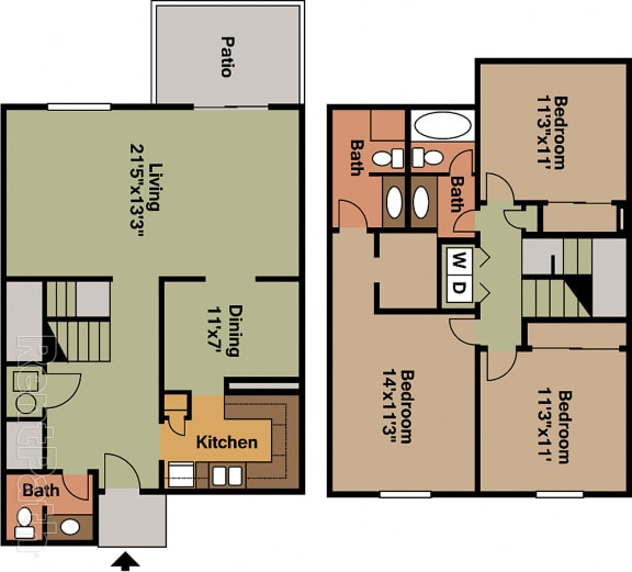 3 BR 2.5 Bath Townhome Floor Plan at Country Lake Townhomes, Indiana, 46229