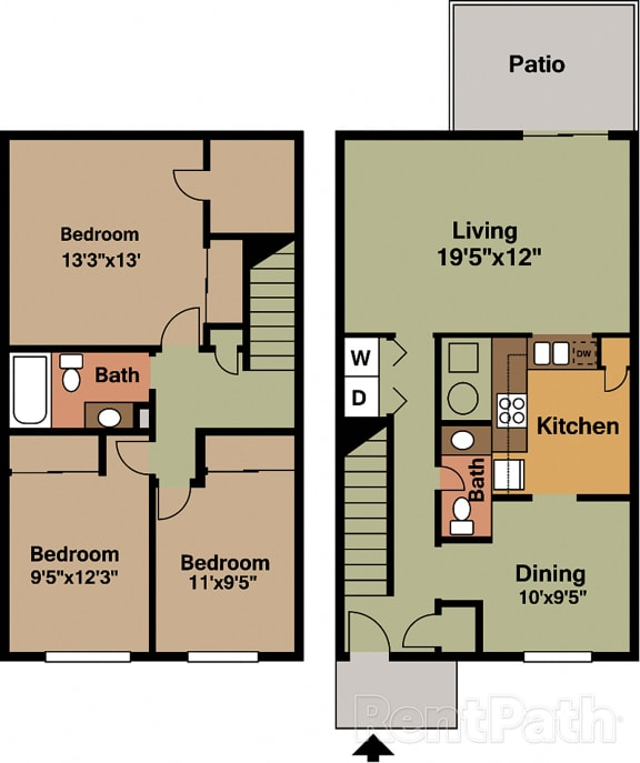 3 BR 1.5 Bath Townhome Floor Plan at Country Lake Townhomes, Indiana, 46229