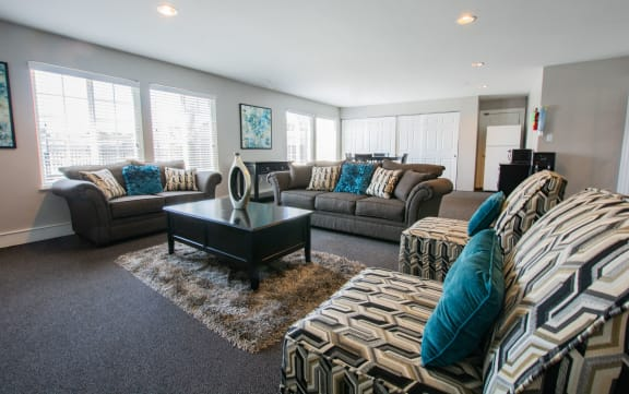 Expansive Living Room at Country Lake Townhomes, Indianapolis, 46229