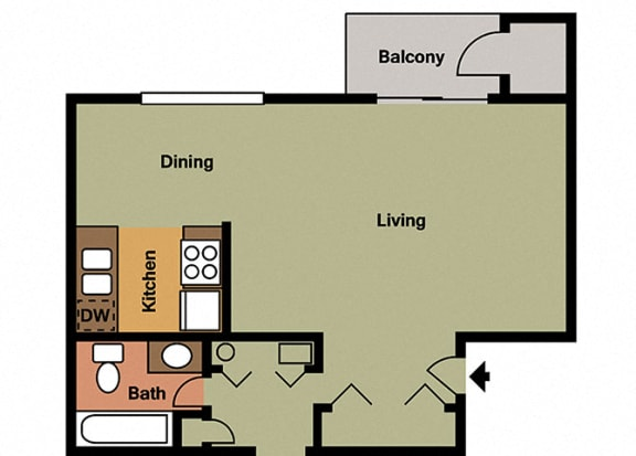 Large studio Floor Plan at Hamilton Square Apartments, Westfield, IN