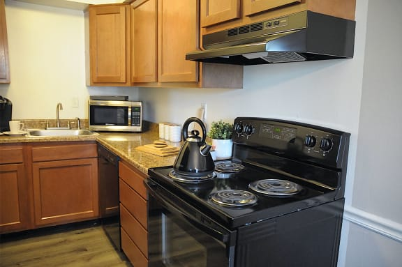 Fully Furnished Kitchen at Pickwick Farms Apartments, Indianapolis, IN, 46260