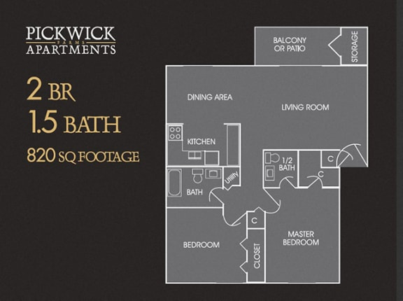 2 BR, 1.5 Bath Floor Plan at Pickwick Farms Apartments, Indianapolis, IN