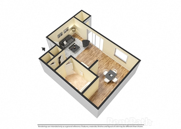 Floor Plan  Studio 3D View at Pickwick Farms Apartments, Indianapolis, IN, 46260