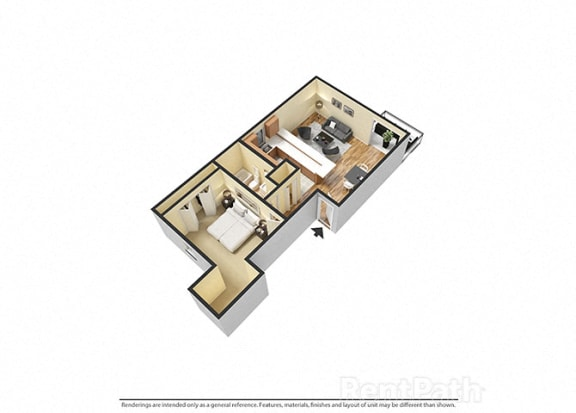 Floor Plan  1 Bedroom, 1 Bathroom 3D View Floor Plan at Sandstone Court Apartments, Greenwood, IN, 46142