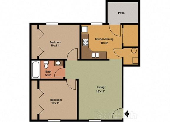 2 Bedroom 1 Bathroom Spacious Floor plan at Sandstone Court Apartments, Greenwood, IN, 46142