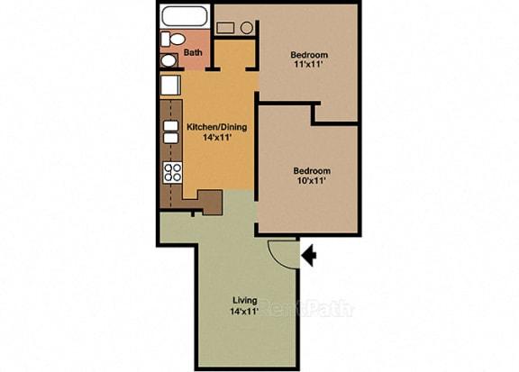 2 Bedroom, 1 Bathroom Floor plan at Sandstone Court Apartments, Indiana, 46142