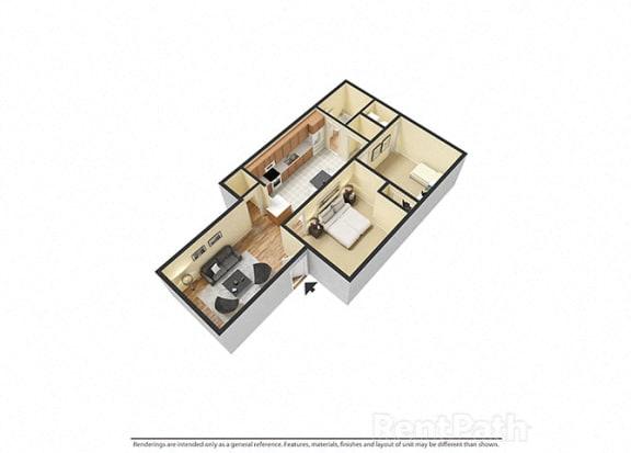 Floor Plan  2 Bedroom, 1 Bathroom 3D Floor plan at Sandstone Court Apartments, Greenwood, IN