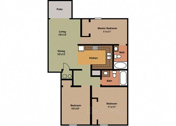 3 Bedroom 2 Bathroom Floor Plan at Sandstone Court Apartments, Greenwood, IN