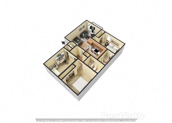 Floor Plan  3 Bedroom 2 Bathroom 3D Floor Plan at Sandstone Court Apartments, Greenwood, Indiana