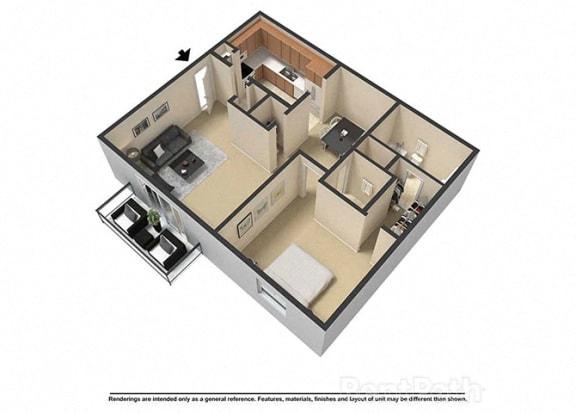 Floor Plan  1 Bedroom 1.5 Bath 3D Floor Plan at Waterstone Place Apartments, Indiana