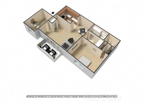 Floor Plan  1 Bedroom, 1 Bath Plus Den 3D Floor Plan at Waterstone Place Apartments, Indianapolis