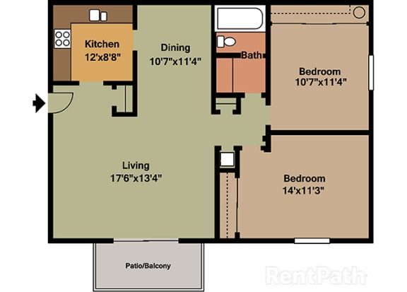 2 Bedroom 1 Bath Floor Plan at Waterstone Place Apartments, Indiana