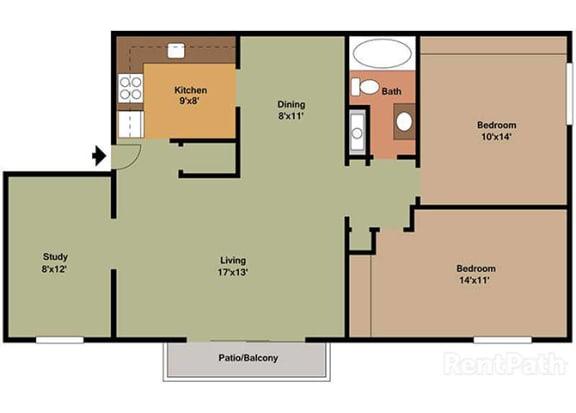 2 Bedroom 1 Bath Plus Den Floor Plan at Waterstone Place Apartments, Indianapolis, IN, 46229