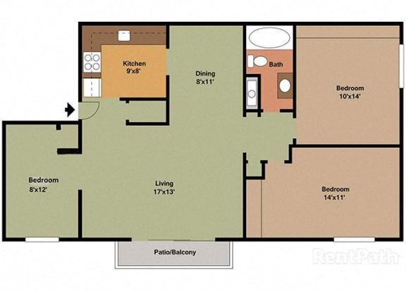 3 Bedroom 1 Bath Floor Plan at Waterstone Place Apartments, Indianapolis, IN