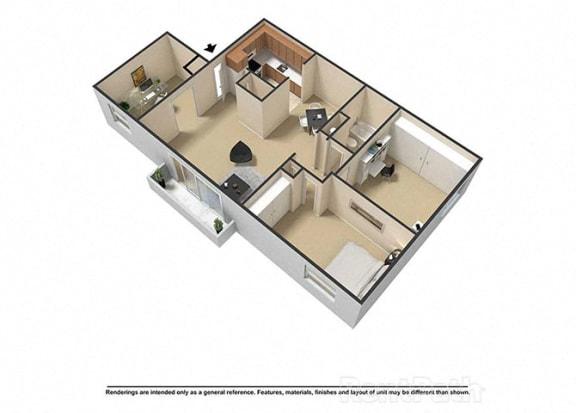 Floor Plan  3 Bedroom 1 Bath 3D Floor Plan at Waterstone Place Apartments, Indiana, 46229