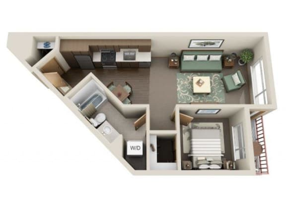 Floor Plan  Traditional 1bd 1ba - D Floor Plan at Link Apartment Homes, Washington, 98126