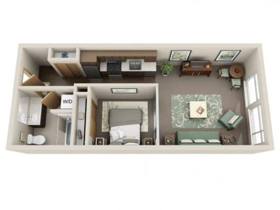 Floor Plan  Urban 1bd 1ba - A at Link Apartment Homes, Seattle, Washington