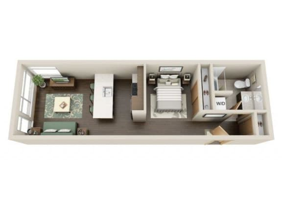 Floor Plan  Urban 1bd 1ba - B Floor Plan at Link Apartment Homes, CA, 98126